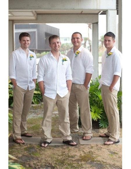 Linen Fabric Casual Groomsmen