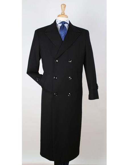 Apollo King men's Big & Tall Wool Gabardine Top Coat - Trench Coat Style