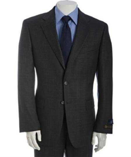 Product# BER_TZ29 Dark Grey Masculine color Subtle Glen Plaid Superior Fabric 120s Wool Fabric 2-Button Athletic Cut Suits Classic Fit  With Single Pleated Slacks Pants