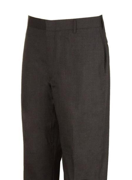 Product# JSM-4477 Charcoal  Plain Flat Front Dress Pants