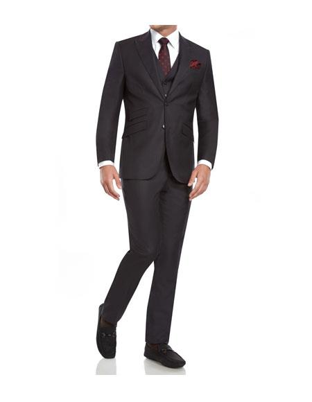 Product# CH2163 Mens Single Breasted slim fit 3 piece vested Charcoal suits with Ticket Pockets