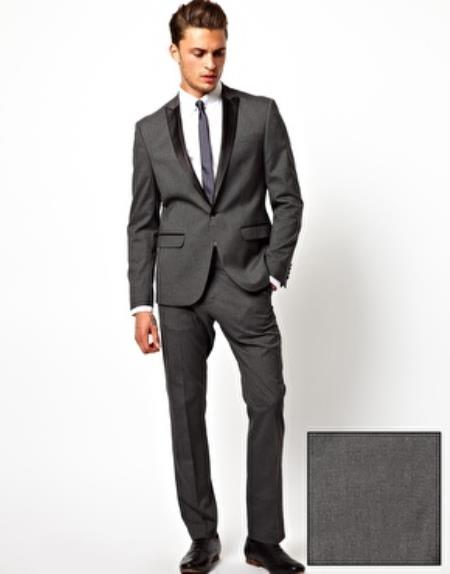Slim narrow Style Fit Tuxedo Suit Jacket Dark Grey Masculine color