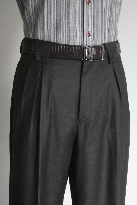 Two back pockets wide leg charcoal dress pants men's