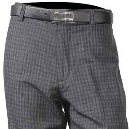 Product# SM857 Wool Fabric Dark Grey Masculine color Flat Front Plaid Pant