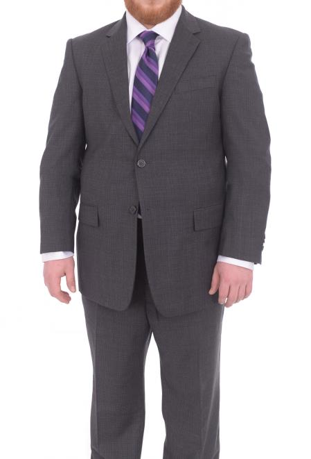 Charcoal Gray Checked Wool Suit