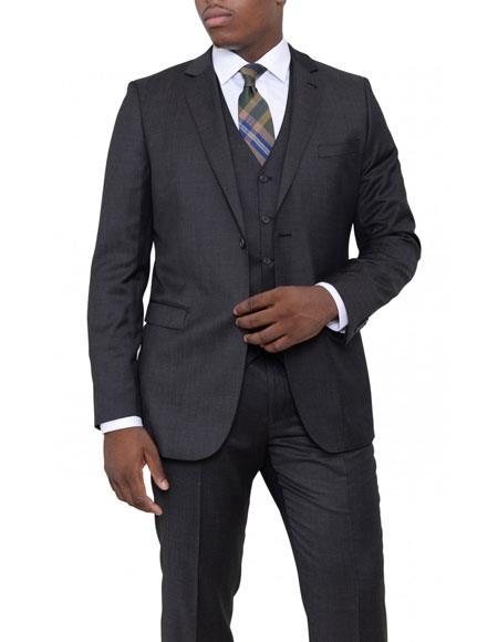Product# JSM-6109 Mens Charcoal Gray Pindot Slim Fit Wool 3 Piece Vested Suit Flat Front Pants