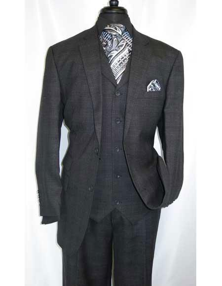 Charcoal Grey Wool Vested Suit