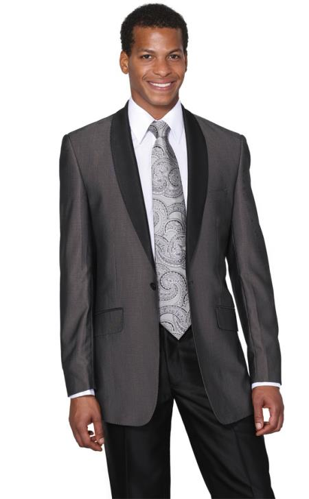 Dark Grey Masculine color Shawl Collar Grey Tuxedo Slim narrow Style Fit Dinner Jacket looking Two Toned Liquid Jet Black Lapel + Free Pants Clearance Sale Online
