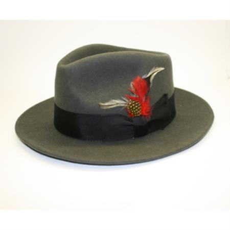 Product# PN-V68 Dark Grey Masculine color 100 Percent Wool Fabric Fedora suit hat