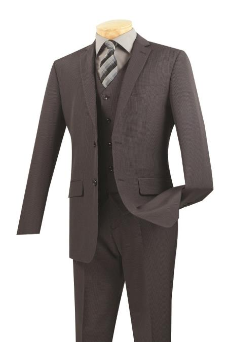 3 Piece Wool Fabric Feel Slim narrow Style Fit Suit – Dark Grey Masculine color