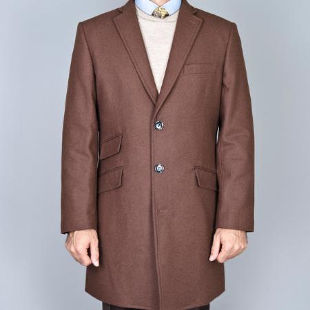 Product# UML1744 Chestnut Wool Fabric Single Breasted Carcoat