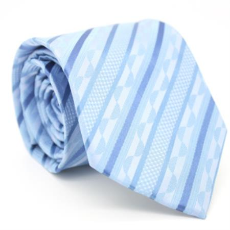 Product# KA8662 Slim narrow Style Classic Blue Striped Necktie with Matching Handkerchief - Tie Set
