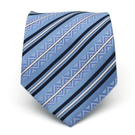 Product# KA6778 Slim narrow Style Classic Blue Striped Necktie with Matching Handkerchief - Tie Set