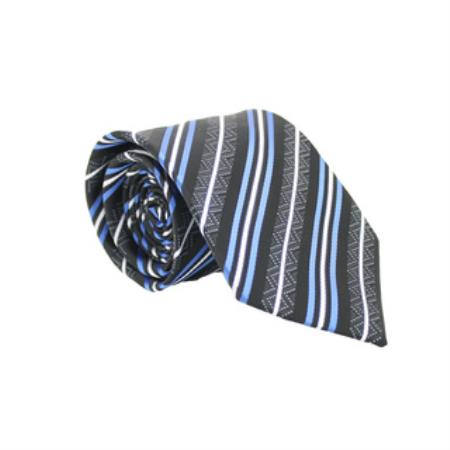 Product# KA6278 Slim narrow Style Classic Blue/Black Striped Necktie with Matching Handkerchief - Tie Set