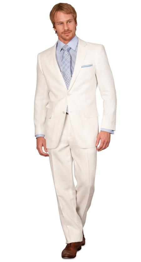 Product# LIN4 Classic Fit Men's 2 Piece Linen Causal Outfits Boys And Men Suit - White / Beach Wedding Attire For Groom