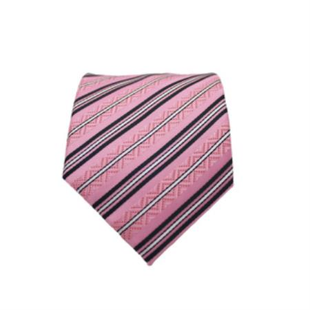 Product# KA5978 Slim narrow Style Classic Pink Striped Necktie with Matching Handkerchief - Tie Set