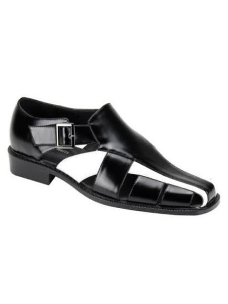 Men's Black/White Synthetic Closed Toe Dress Sandals