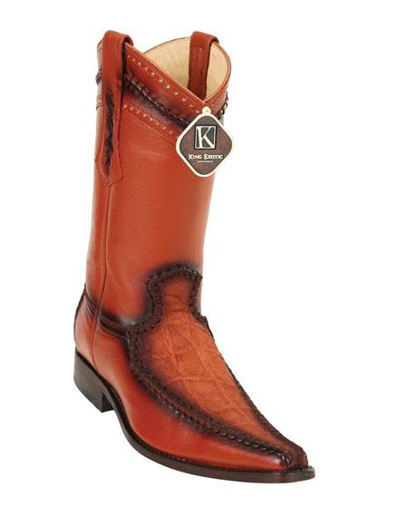 Product# JSM-4885 Men's King Exotic Cognac Embroidered European Toe Genuine Elephant Skin Boots