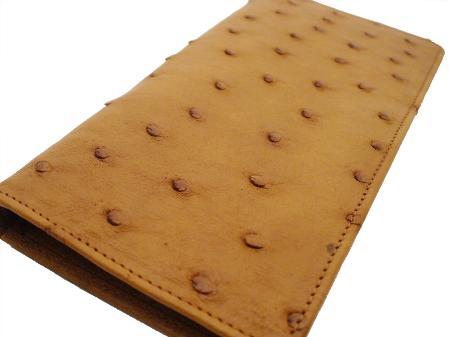 Ostrich Checkbook - Cognac