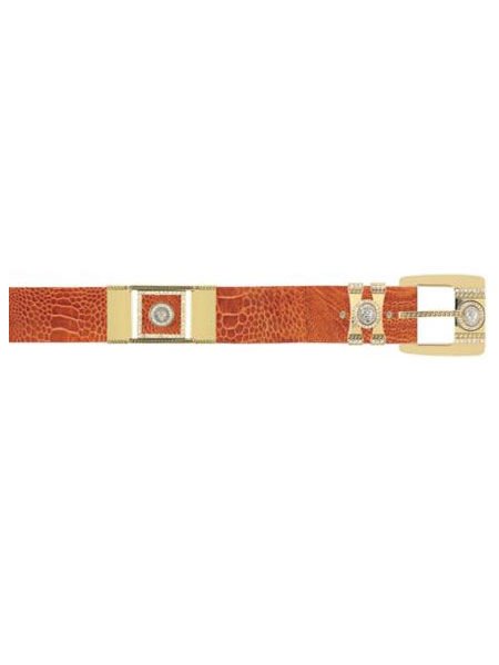 Product# KJJ2 Authentic Los altos Cognac Genuine Ostrich Leg With Rhinestone / Gold Plated Brackets Belt