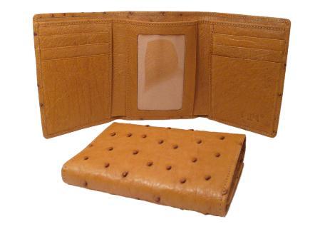 Product# OWQ7812 Ostrich Wallet - Cognac Trifold