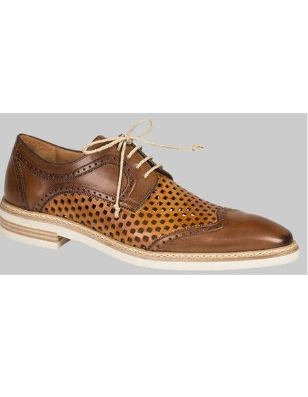 Mens Lace Up Cognac