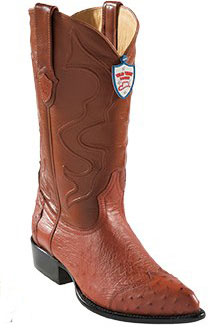 Product# KA4534 Wild West Cognac J-Toe Smooth Ostrich Wing Tip Cowboy Boots