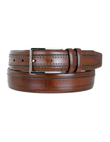 Product# JSM-6702 Mezlan Men's Cognac Genuine Leather Satin Nickel Buckle Belt