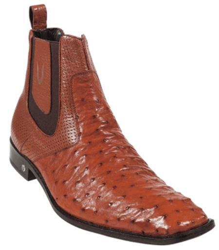 Product# KA5561 Cognac Full Quill Ostrich Dressy Boot