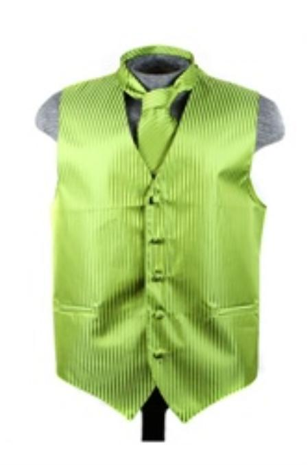 Product# VS6086 Vest Tie Set Spinach Green