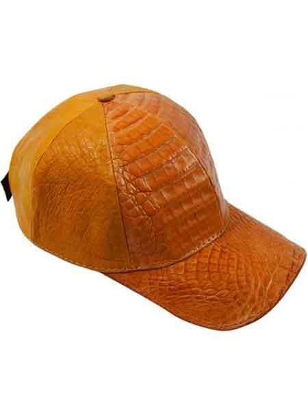 Product# JSM-725 Genuine Copper Baseball Cap Ostrich Alligator CACHUCHA DE COCODRILO Exotic Skin