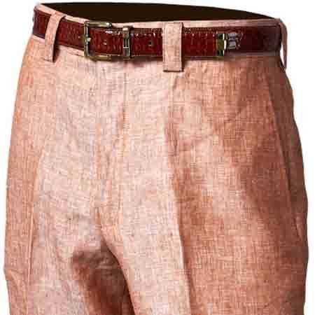 Product# SM840 100% Linen Pleated Slacks Flat Front Shorts Copper