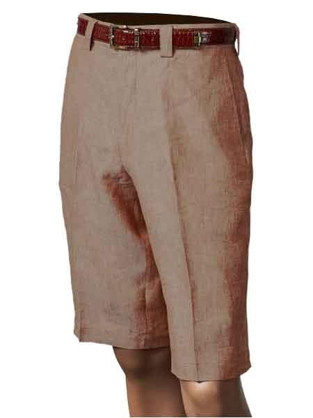 Product# SM853 Inserch Brand Brand/Merc Copper Linen Flat Front Shorts