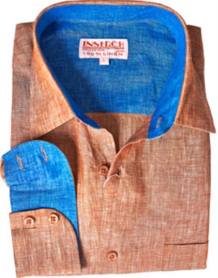 Product# RM1828 Copper Linen Dress Shirt Online Sale