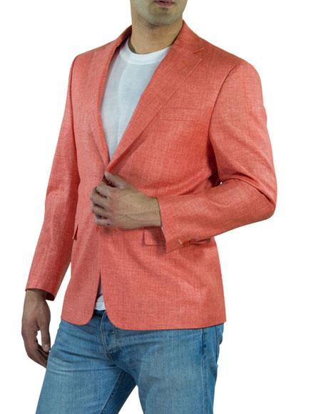 Men's One Ticket Pocket Coral Thread & Stitch 100% Men's 2 Piece Linen Causal Outfits Blazer / Beach Wedding Attire For Groom Perfect For Prom Clothe - Prom Outfits For Guys