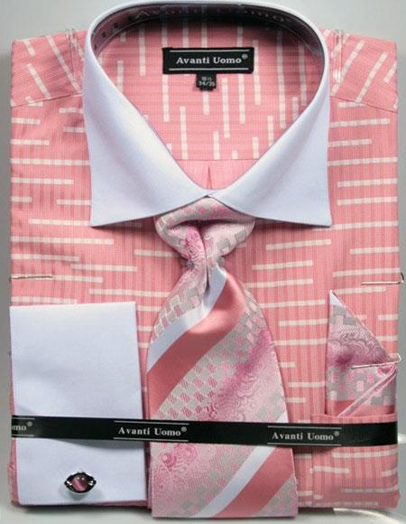 Men's Unique Broken Stripe Pattern Two Tone French Cuff Coral Dress Shirt White Collar Big and Tall Sizes Two Toned Contrast