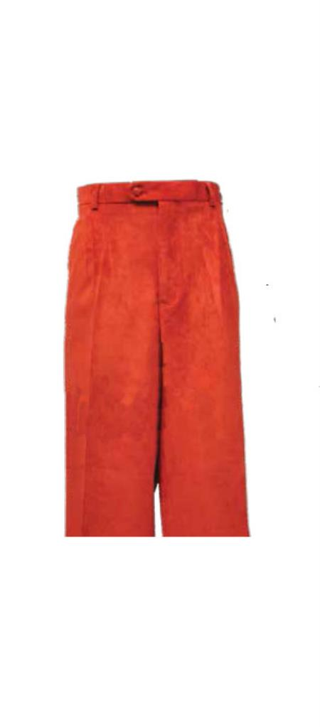 Corduroy Red Pleated Pants