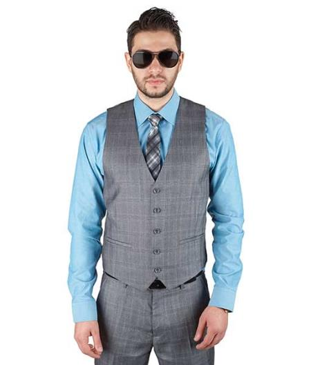 Product# SM385 Cotton Blend 5 Button Plaid Grey Fashionable Dress Vest