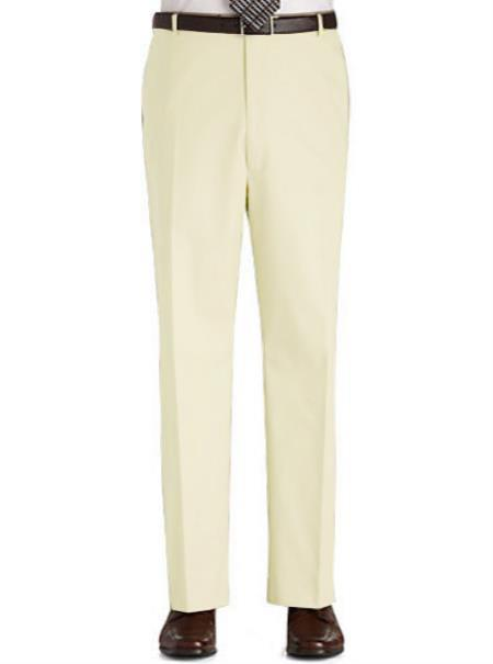 Product# CRM11 Stage Party Pants Trousers Flat Front Regular Rise Slacks - Cream
