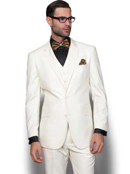 3 Piece Italian Wool Fabric Slim narrow Style Fit Single Breasted Cream Vested Suit Clearance Sale Online