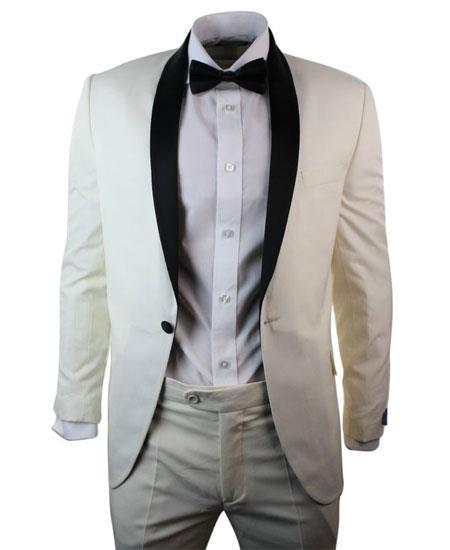 Mens 1 Button Cream Ivory Black Shawl Collar 3 Piece Dinner Suit