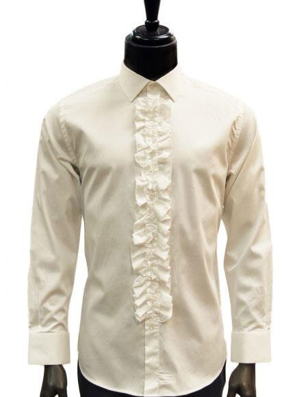 Product# JSM-5121 Men's classic Cream/Ivory Ruffled Dress 100% Cotton casual Trendy tuxedo shirt