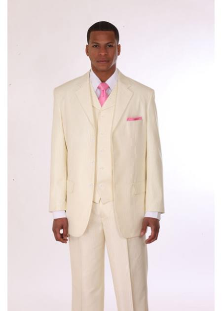3 Button Style Stripe Suit with Lapel Vest Cream With Stripe ~ Pinstripe
