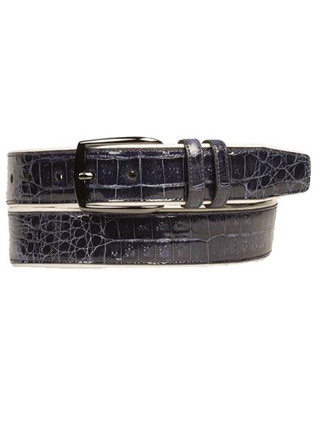 Mezlan Brand Men's Genuine Crocodile / Calfskin Blue Skin Belt