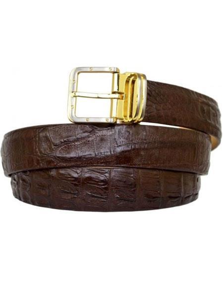 Product# GD905 G-Gator Men's Dark Brown Genuine Crocodile Belt With Buckle
