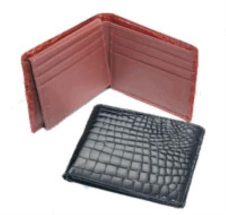 Crocodile Billfold BlackCognacChocolate