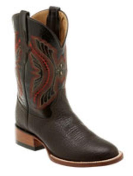 Product# HK690 Liquid Jet Black Cherry Bison Leather D-Toe Boots