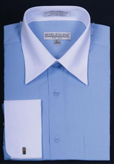 Daniel Ellissa Bright Two Tone Solid French Cuff Blue Dress Shirt Big and Tall Sizes