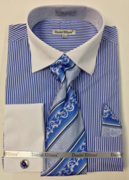Product mk755 daniel ellissa thin stripes big tall french for Big and tall french cuff dress shirts