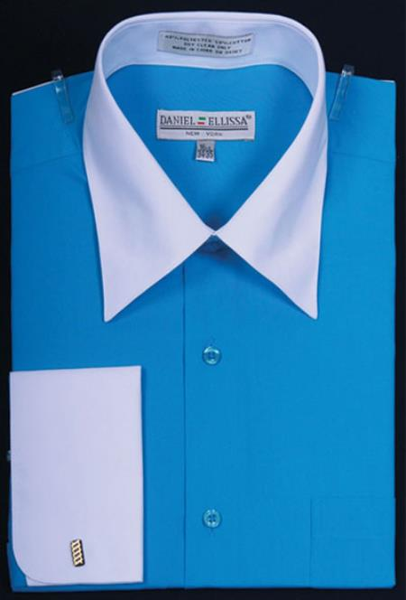 Product# MK659 Daniel Ellissa Bright Two Tone Solid French Cuff Turquoise Dress Shirt Big and Tall Sizes